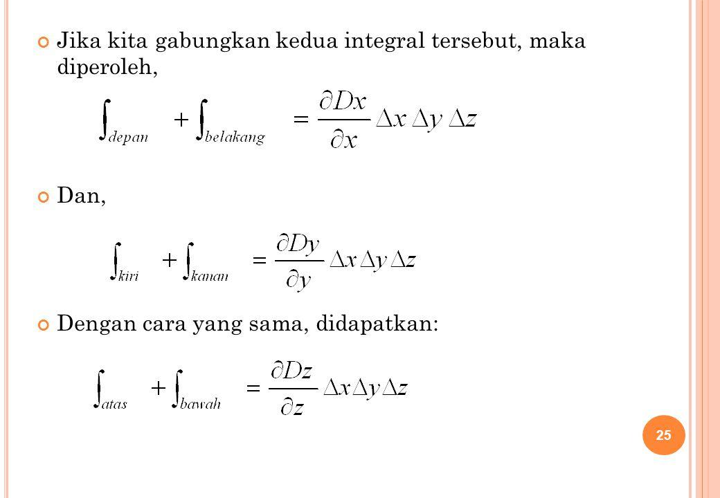 Jika kita gabungkan kedua integral tersebut, maka diperoleh, Dan, Dengan cara yang sama, didapatkan: 25
