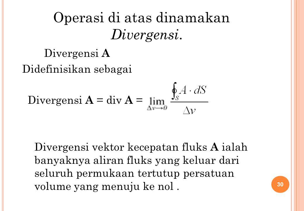 Divergensi A = div A = Divergensi A Didefinisikan sebagai 30 Operasi di atas dinamakan Divergensi. Divergensi vektor kecepatan fluks A ialah banyaknya