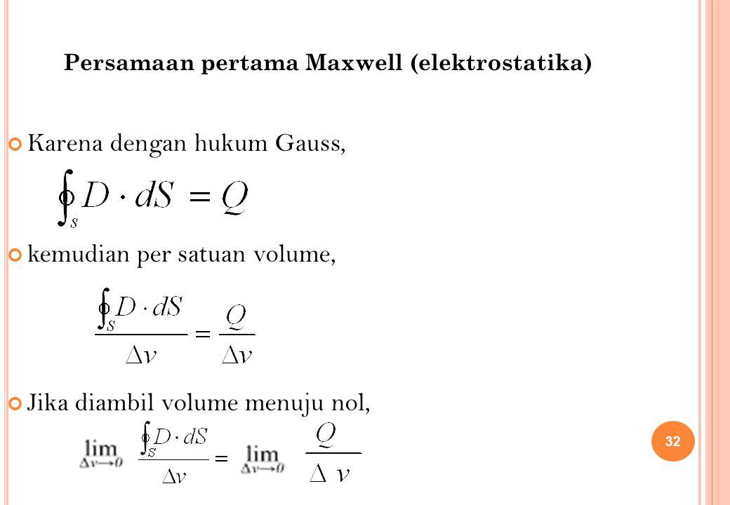 Karena dengan hukum Gauss, kemudian per satuan volume, Jika diambil volume menuju nol, 32 Persamaan pertama Maxwell (elektrostatika)