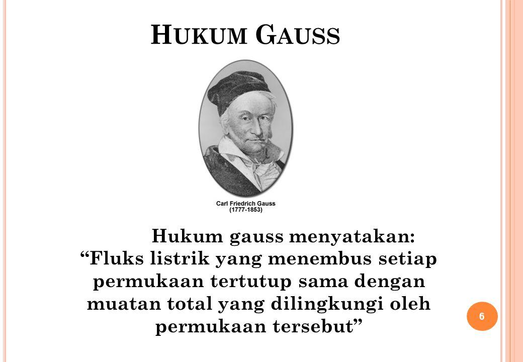 "H UKUM G AUSS Hukum gauss menyatakan: ""Fluks listrik yang menembus setiap permukaan tertutup sama dengan muatan total yang dilingkungi oleh permukaan"