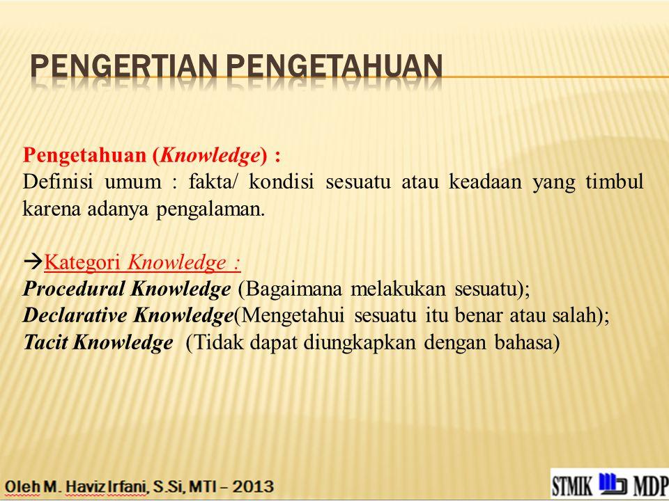 Pengetahuan (Knowledge) : Definisi umum : fakta/ kondisi sesuatu atau keadaan yang timbul karena adanya pengalaman.