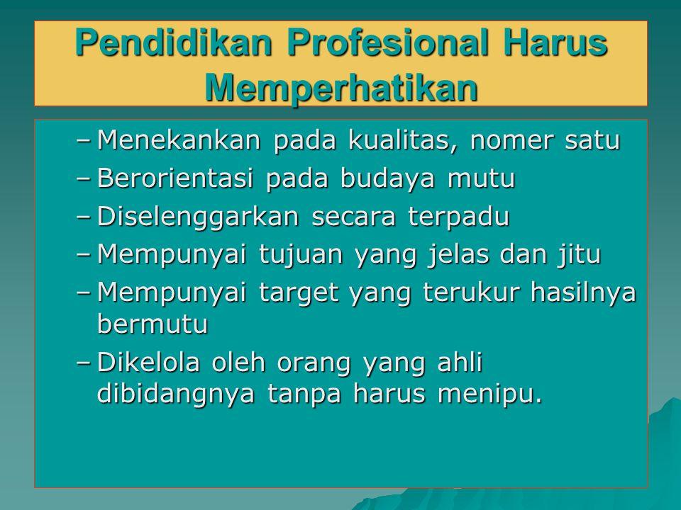 Pendidikan Profesional Harus Memperhatikan –Menekankan pada kualitas, nomer satu –Berorientasi pada budaya mutu –Diselenggarkan secara terpadu –Mempun