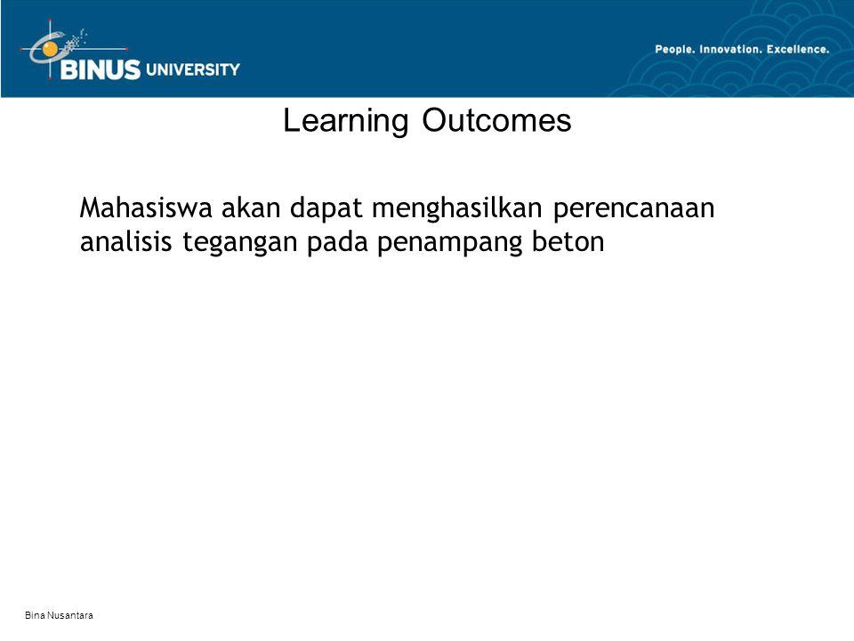 Bina Nusantara Learning Outcomes Mahasiswa akan dapat menghasilkan perencanaan analisis tegangan pada penampang beton