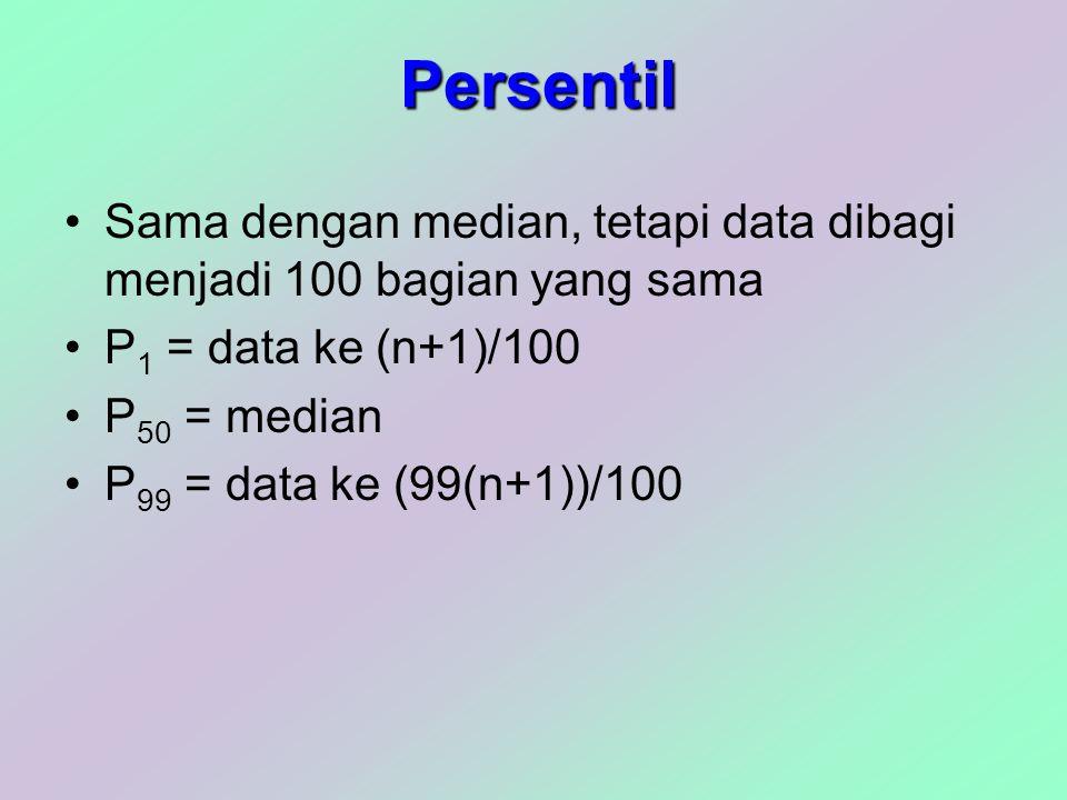 Persentil Sama dengan median, tetapi data dibagi menjadi 100 bagian yang sama P 1 = data ke (n+1)/100 P 50 = median P 99 = data ke (99(n+1))/100