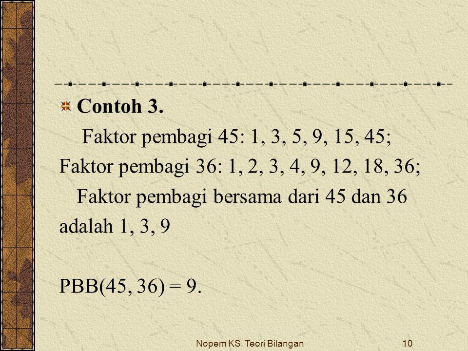 Nopem KS. Teori Bilangan10 Contoh 3. Faktor pembagi 45: 1, 3, 5, 9, 15, 45; Faktor pembagi 36: 1, 2, 3, 4, 9, 12, 18, 36; Faktor pembagi bersama dari
