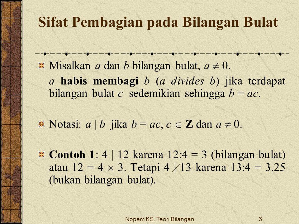 Nopem KS. Teori Bilangan3 Sifat Pembagian pada Bilangan Bulat Misalkan a dan b bilangan bulat, a  0. a habis membagi b (a divides b) jika terdapat bi