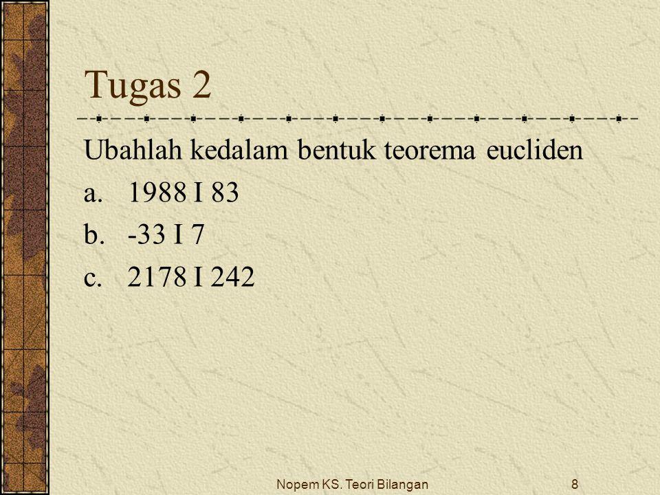 Nopem KS. Teori Bilangan8 Tugas 2 Ubahlah kedalam bentuk teorema eucliden a.1988 I 83 b.-33 I 7 c.2178 I 242