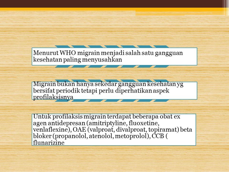 Menurut WHO migrain menjadi salah satu gangguan kesehatan paling menyusahkan Migrain bukan hanya sekedar gangguan kesehatan yg bersifat periodik tetap