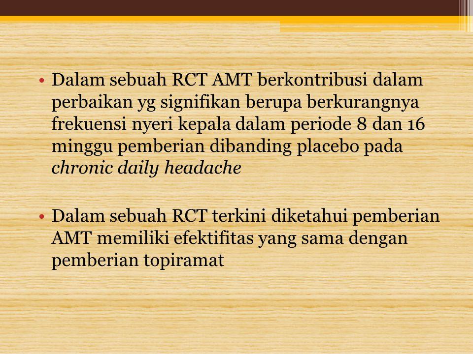 Dalam sebuah RCT AMT berkontribusi dalam perbaikan yg signifikan berupa berkurangnya frekuensi nyeri kepala dalam periode 8 dan 16 minggu pemberian di