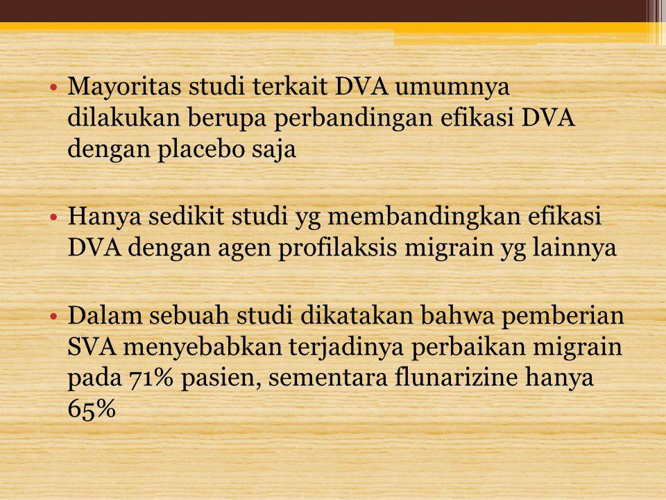 Mayoritas studi terkait DVA umumnya dilakukan berupa perbandingan efikasi DVA dengan placebo saja Hanya sedikit studi yg membandingkan efikasi DVA den