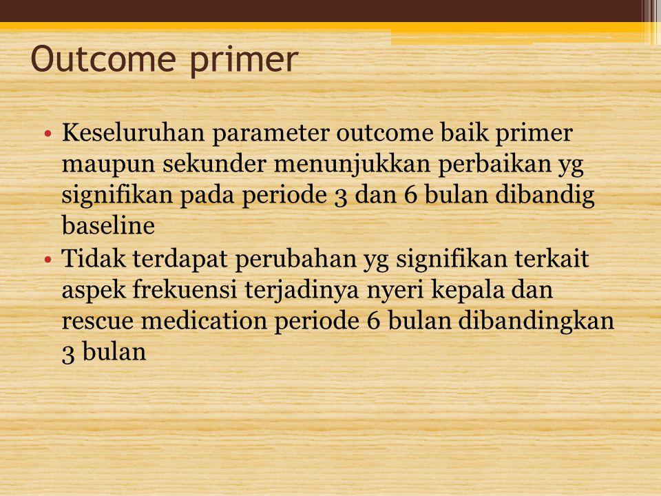 Outcome primer Keseluruhan parameter outcome baik primer maupun sekunder menunjukkan perbaikan yg signifikan pada periode 3 dan 6 bulan dibandig basel