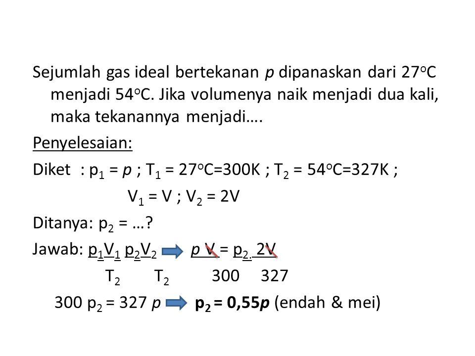 Sejumlah gas ideal bertekanan p dipanaskan dari 27 o C menjadi 54 o C.
