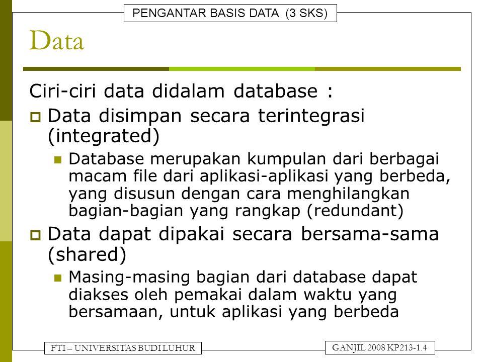 FTI – UNIVERSITAS BUDI LUHUR PENGANTAR BASIS DATA (3 SKS) GANJIL 2008 KP213-1.4 Data Ciri-ciri data didalam database :  Data disimpan secara terinteg