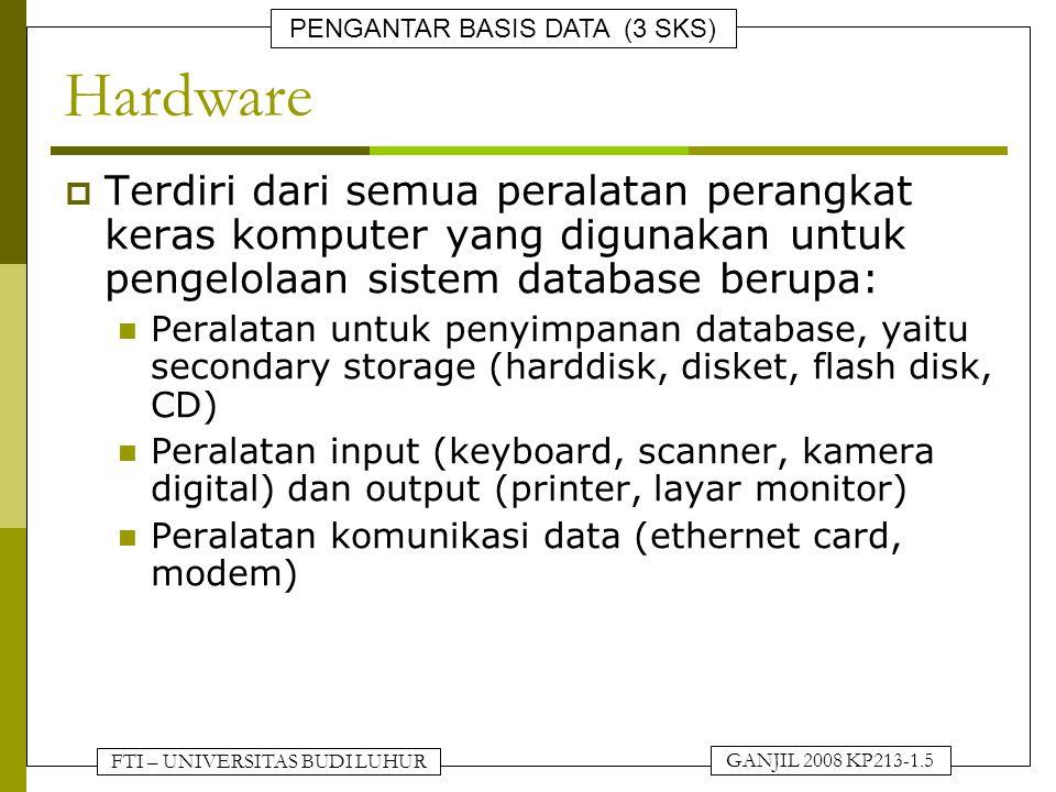 FTI – UNIVERSITAS BUDI LUHUR PENGANTAR BASIS DATA (3 SKS) GANJIL 2008 KP213-1.5 Hardware  Terdiri dari semua peralatan perangkat keras komputer yang