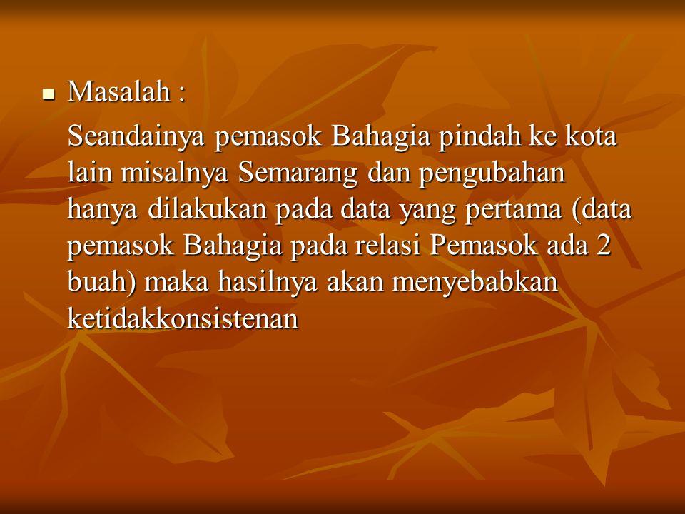 Masalah : Masalah : Seandainya pemasok Bahagia pindah ke kota lain misalnya Semarang dan pengubahan hanya dilakukan pada data yang pertama (data pemas