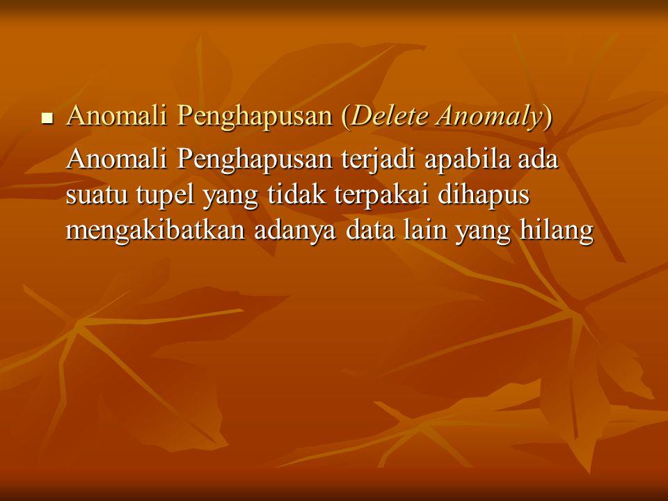 Anomali Penghapusan (Delete Anomaly) Anomali Penghapusan (Delete Anomaly) Anomali Penghapusan terjadi apabila ada suatu tupel yang tidak terpakai dihapus mengakibatkan adanya data lain yang hilang