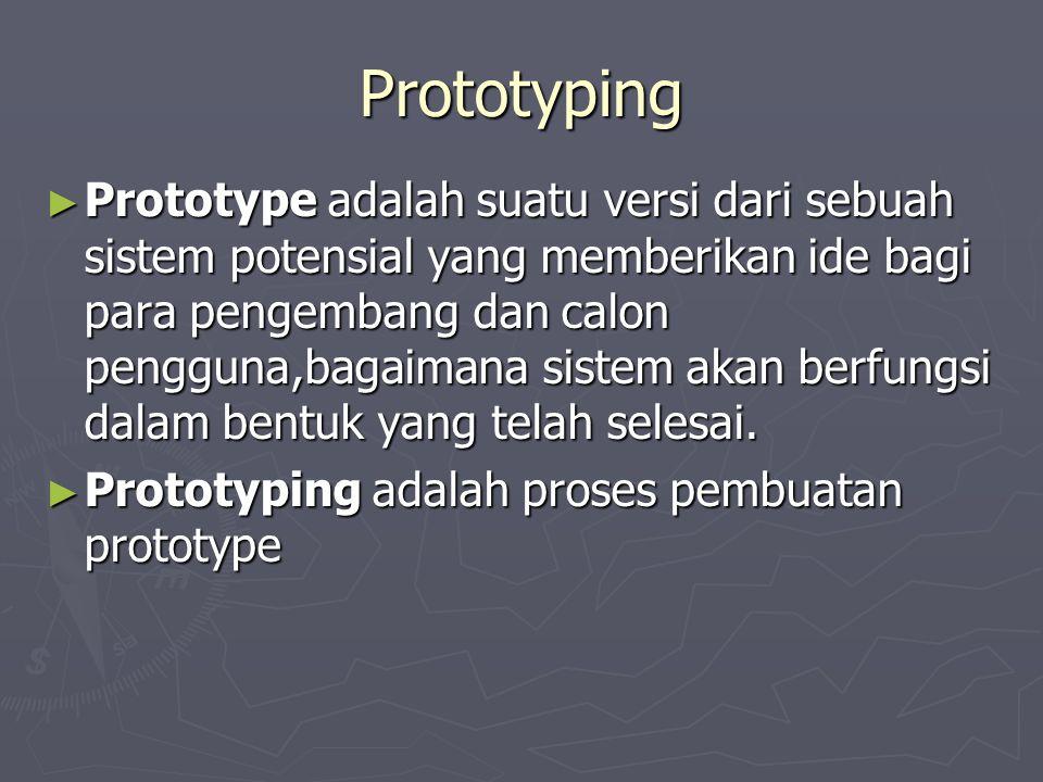 Prototyping ► Prototype adalah suatu versi dari sebuah sistem potensial yang memberikan ide bagi para pengembang dan calon pengguna,bagaimana sistem akan berfungsi dalam bentuk yang telah selesai.