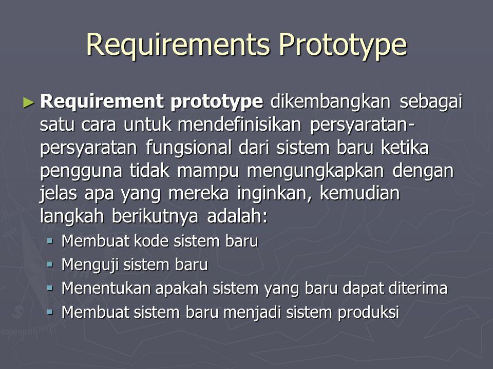 Requirements Prototype ► Requirement prototype dikembangkan sebagai satu cara untuk mendefinisikan persyaratan- persyaratan fungsional dari sistem baru ketika pengguna tidak mampu mengungkapkan dengan jelas apa yang mereka inginkan, kemudian langkah berikutnya adalah:  Membuat kode sistem baru  Menguji sistem baru  Menentukan apakah sistem yang baru dapat diterima  Membuat sistem baru menjadi sistem produksi