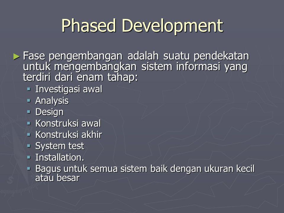 Phased Development ► Fase pengembangan adalah suatu pendekatan untuk mengembangkan sistem informasi yang terdiri dari enam tahap:  Investigasi awal 