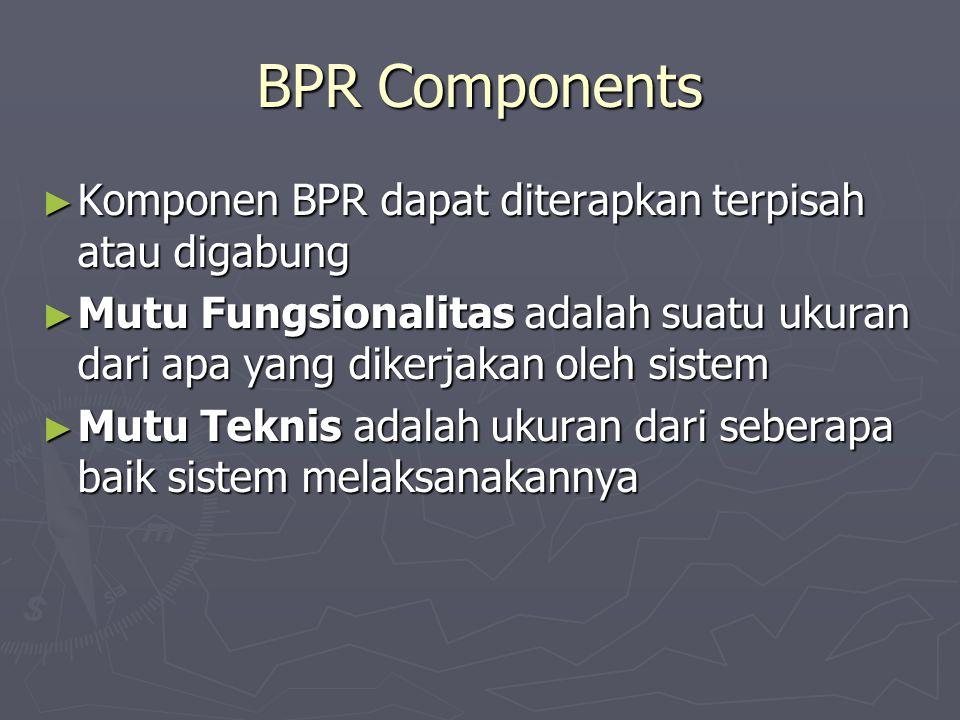 BPR Components ► Komponen BPR dapat diterapkan terpisah atau digabung ► Mutu Fungsionalitas adalah suatu ukuran dari apa yang dikerjakan oleh sistem ► Mutu Teknis adalah ukuran dari seberapa baik sistem melaksanakannya