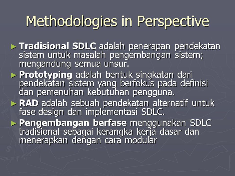 Methodologies in Perspective ► Tradisional SDLC adalah penerapan pendekatan sistem untuk masalah pengembangan sistem; mengandung semua unsur. ► Protot