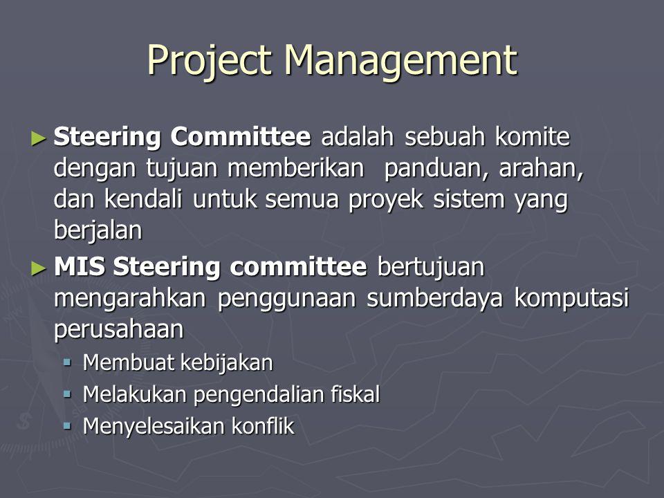 Project Management ► Steering Committee adalah sebuah komite dengan tujuan memberikan panduan, arahan, dan kendali untuk semua proyek sistem yang berjalan ► MIS Steering committee bertujuan mengarahkan penggunaan sumberdaya komputasi perusahaan  Membuat kebijakan  Melakukan pengendalian fiskal  Menyelesaikan konflik