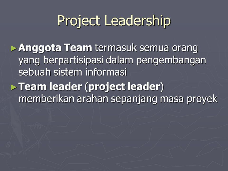 Project Leadership ► Anggota Team termasuk semua orang yang berpartisipasi dalam pengembangan sebuah sistem informasi ► Team leader (project leader) m