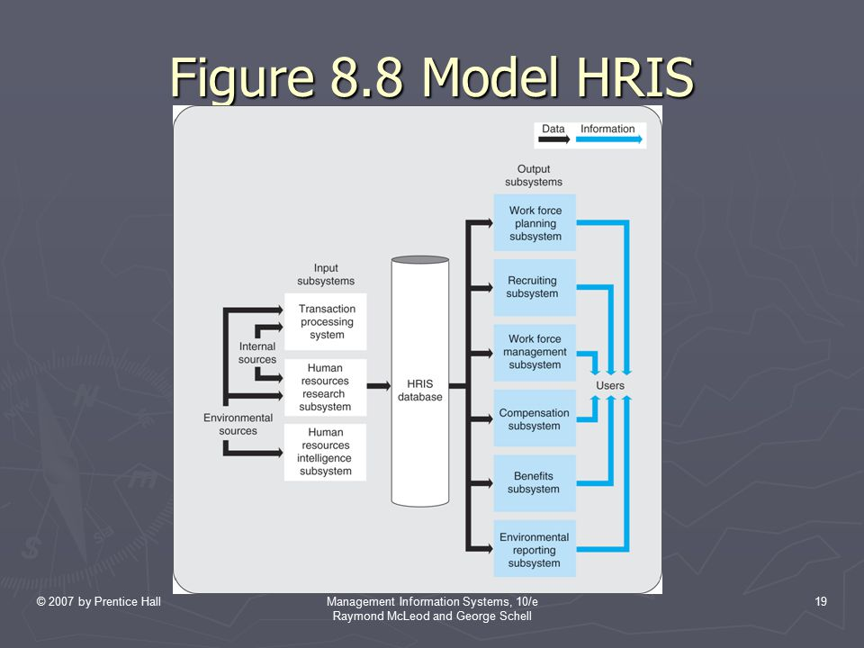 © 2007 by Prentice HallManagement Information Systems, 10/e Raymond McLeod and George Schell 19 Figure 8.8 Model HRIS