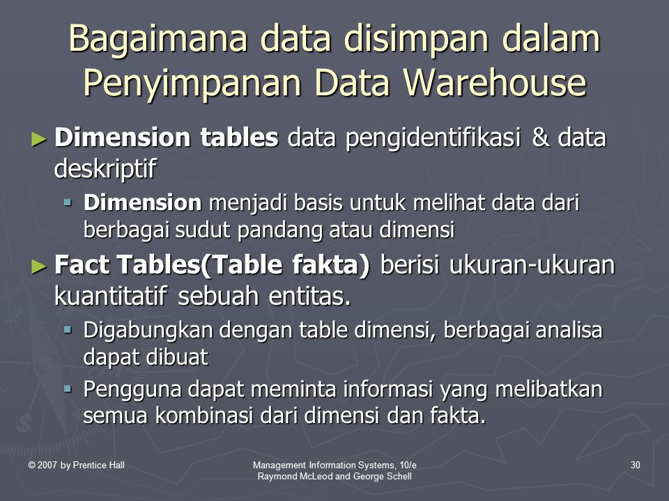 © 2007 by Prentice HallManagement Information Systems, 10/e Raymond McLeod and George Schell 30 Bagaimana data disimpan dalam Penyimpanan Data Warehou