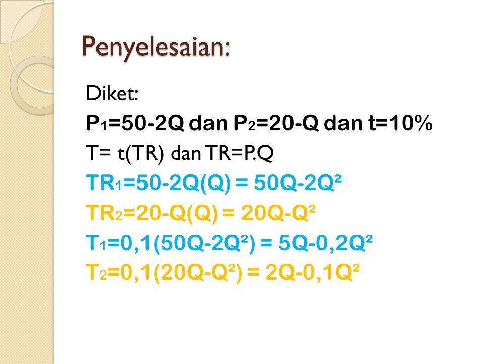 Penyelesaian: Diket: P 1 =50-2Q dan P 2 =20-Q dan t=10% T= t(TR) dan TR=P.Q TR 1 =50-2Q(Q) = 50Q-2Q² TR 2 =20-Q(Q) = 20Q-Q² T 1 =0,1(50Q-2Q²) = 5Q-0,2Q² T 2 =0,1(20Q-Q²) = 2Q-0,1Q²
