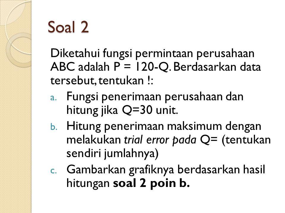 Soal 2 Diketahui fungsi permintaan perusahaan ABC adalah P = 120-Q.