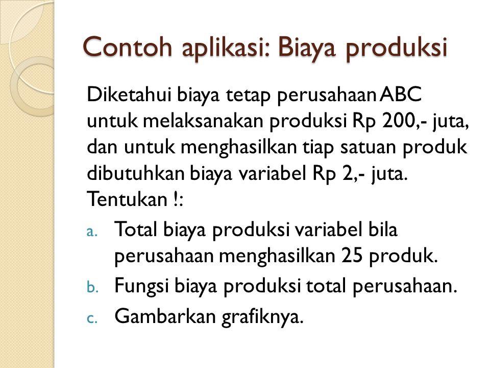 Contoh aplikasi: Biaya produksi Diketahui biaya tetap perusahaan ABC untuk melaksanakan produksi Rp 200,- juta, dan untuk menghasilkan tiap satuan produk dibutuhkan biaya variabel Rp 2,- juta.