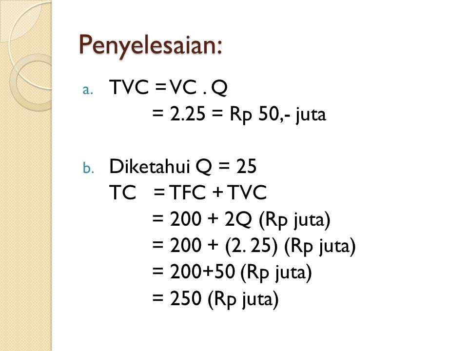 Penyelesaian: a. TVC = VC. Q = 2.25 = Rp 50,- juta b. Diketahui Q = 25 TC = TFC + TVC = 200 + 2Q (Rp juta) = 200 + (2. 25) (Rp juta) = 200+50 (Rp juta