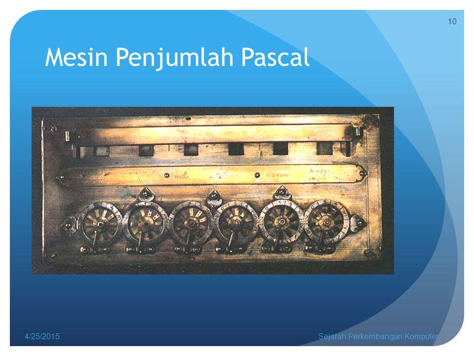 Mesin Penjumlah Pascal 4/25/2015Sejarah Perkembangan Komputer 10