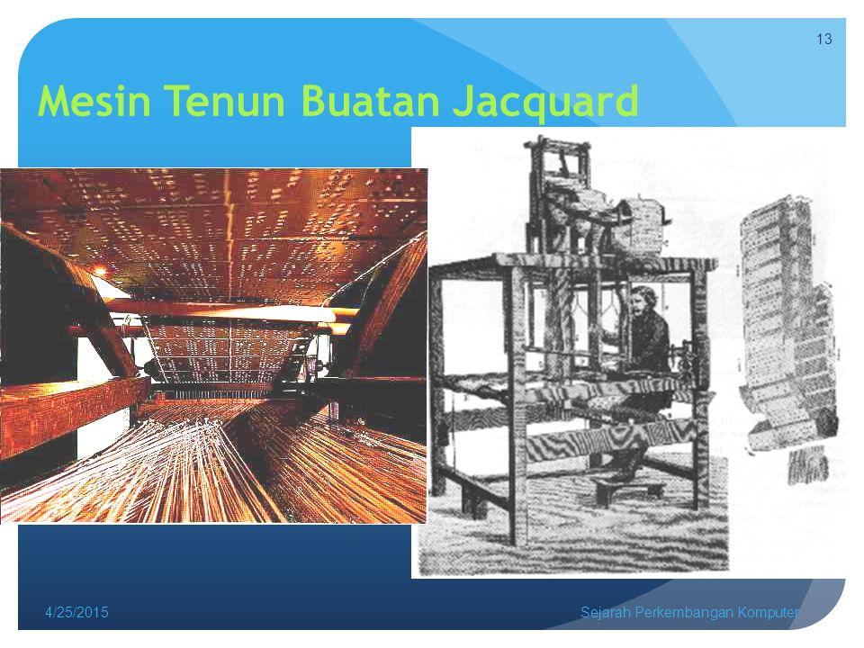 Mesin Tenun Buatan Jacquard 4/25/2015Sejarah Perkembangan Komputer 13