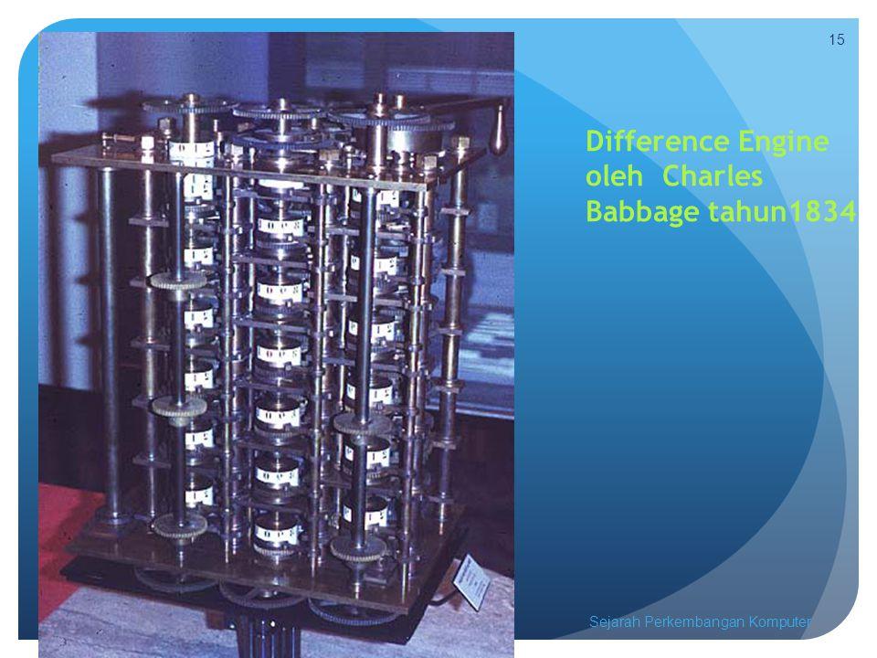 Difference Engine oleh Charles Babbage tahun1834 4/25/2015Sejarah Perkembangan Komputer 15