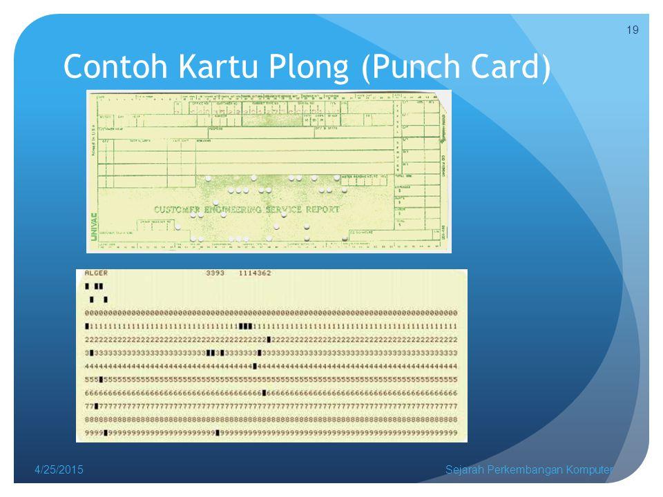 Contoh Kartu Plong (Punch Card) 4/25/2015Sejarah Perkembangan Komputer 19