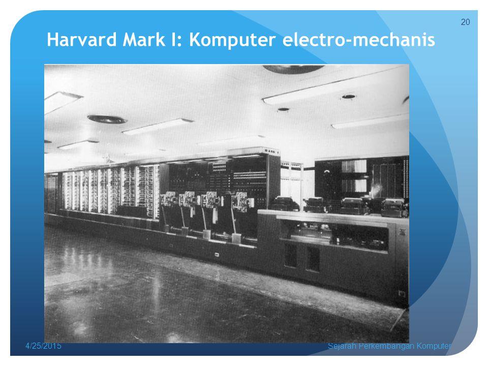 Harvard Mark I: Komputer electro-mechanis 4/25/2015Sejarah Perkembangan Komputer 20