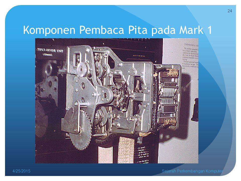 Komponen Pembaca Pita pada Mark 1 4/25/2015Sejarah Perkembangan Komputer 24