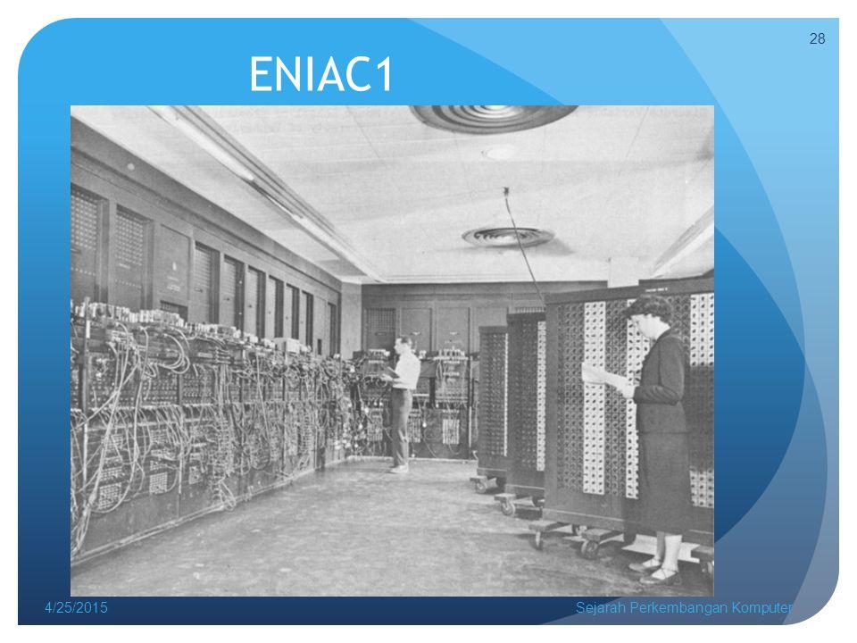 ENIAC1 4/25/2015Sejarah Perkembangan Komputer 28