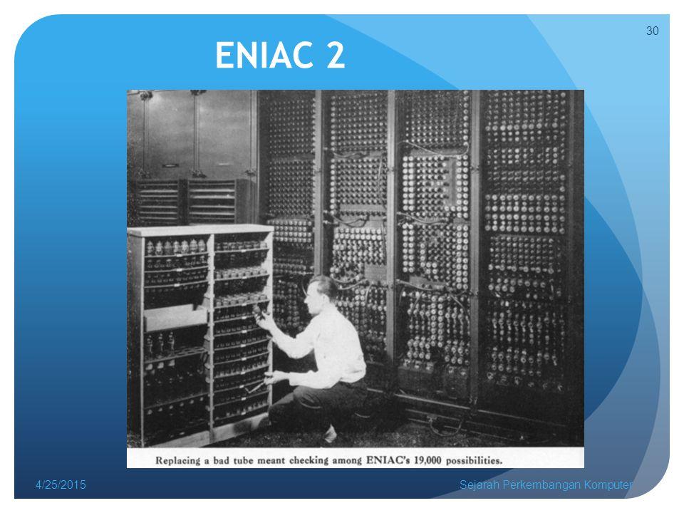 ENIAC 2 4/25/2015Sejarah Perkembangan Komputer 30