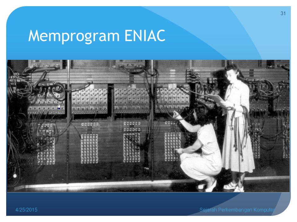 Memprogram ENIAC 4/25/2015Sejarah Perkembangan Komputer 31