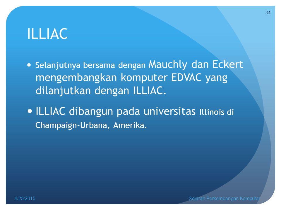 ILLIAC Selanjutnya bersama dengan Mauchly dan Eckert mengembangkan komputer EDVAC yang dilanjutkan dengan ILLIAC.