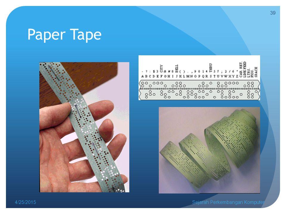 Paper Tape 4/25/2015Sejarah Perkembangan Komputer 39