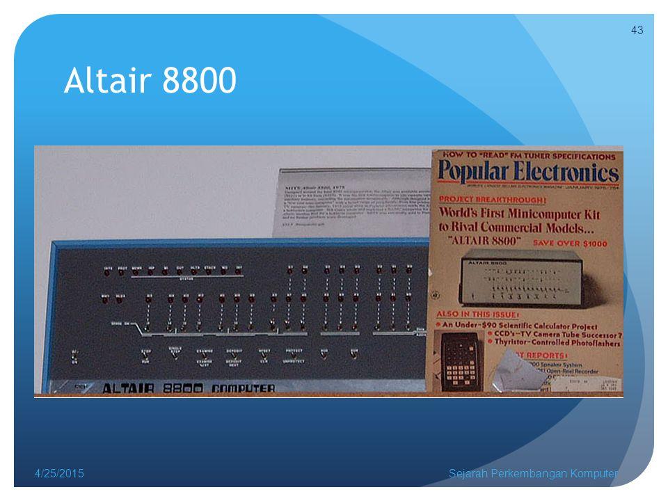 Altair 8800 4/25/2015Sejarah Perkembangan Komputer 43