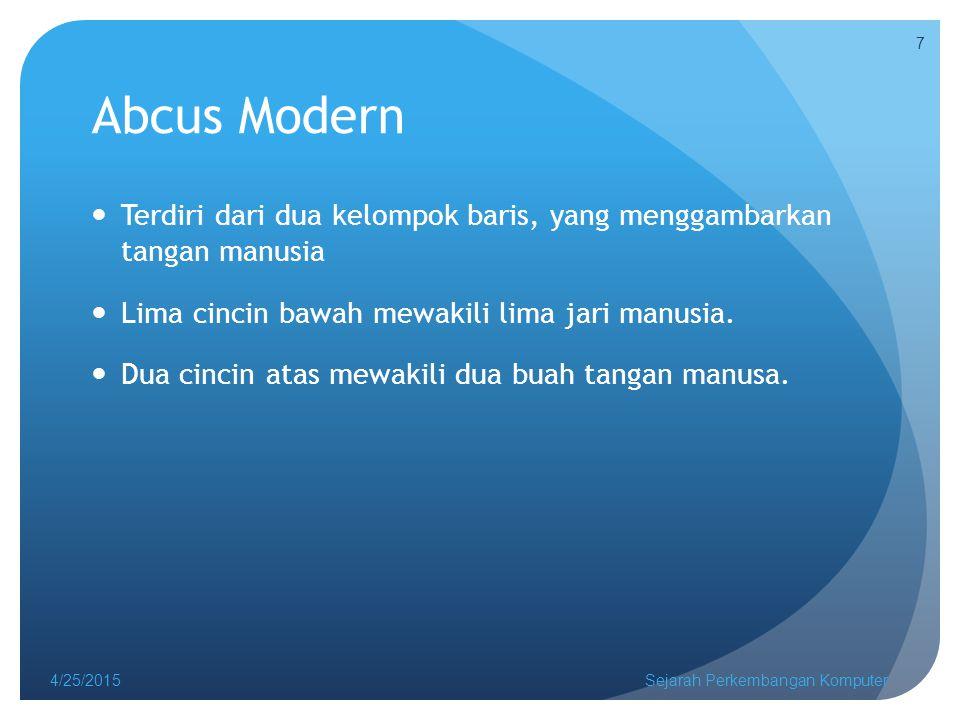 Abcus Modern 4/25/2015Sejarah Perkembangan Komputer 8