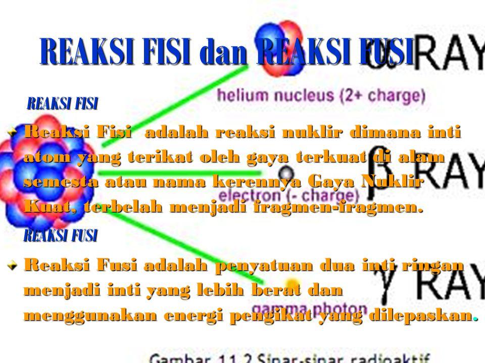 REAKSI FISI dan REAKSI FUSI REAKSI FISI REAKSI FISI Reaksi Fisi adalah reaksi nuklir dimana inti atom yang terikat oleh gaya terkuat di alam semesta a