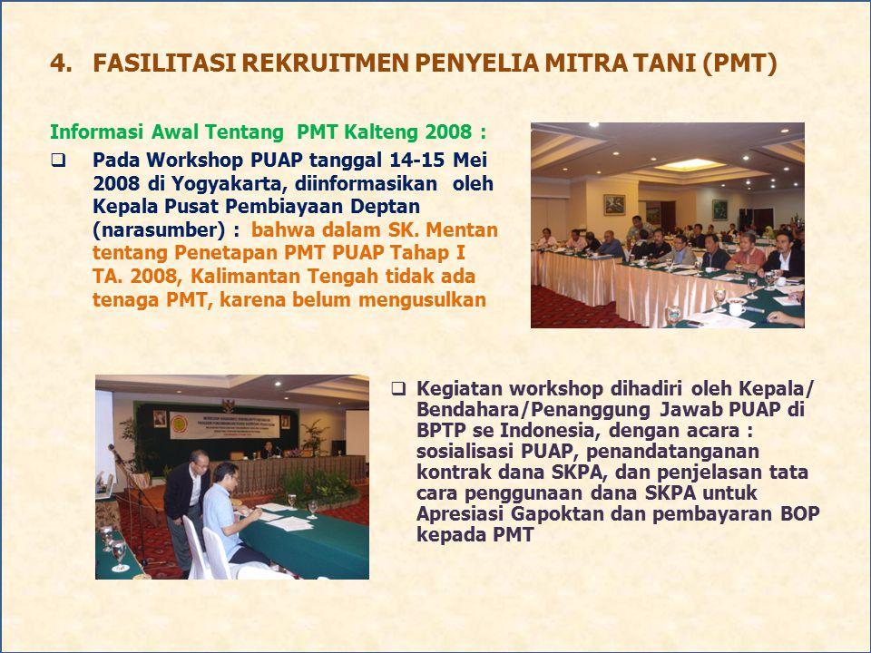 4.FASILITASI REKRUITMEN PENYELIA MITRA TANI (PMT) Informasi Awal Tentang PMT Kalteng 2008 :  Pada Workshop PUAP tanggal 14-15 Mei 2008 di Yogyakarta,
