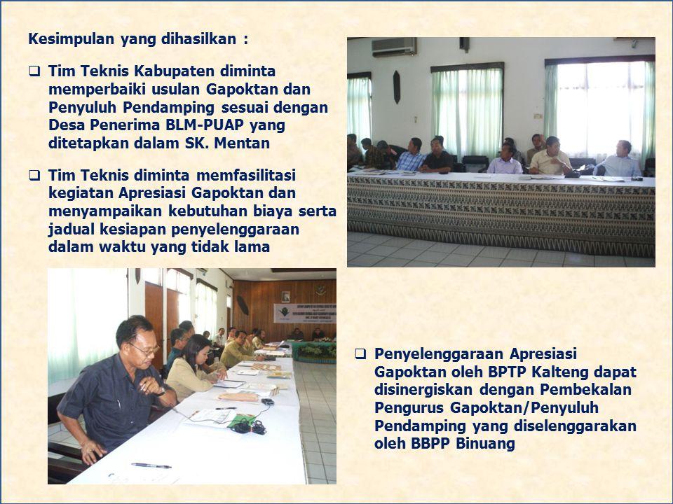Kesimpulan yang dihasilkan :  Tim Teknis Kabupaten diminta memperbaiki usulan Gapoktan dan Penyuluh Pendamping sesuai dengan Desa Penerima BLM-PUAP y