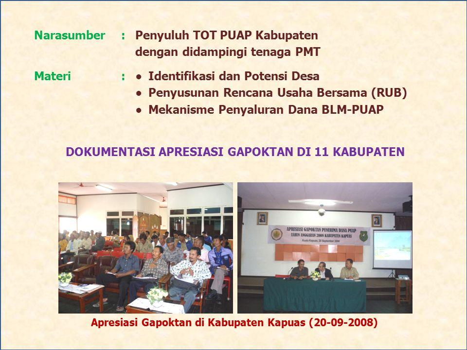 Narasumber:Penyuluh TOT PUAP Kabupaten dengan didampingi tenaga PMT Materi:●Identifikasi dan Potensi Desa ● Penyusunan Rencana Usaha Bersama (RUB) ● M